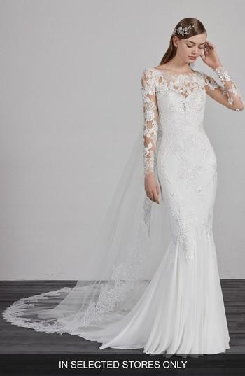 Mariage - Pronovias Esperanza Illusion Lace Mermaid Gown