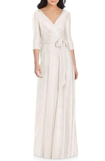 Hochzeit - Dessy Collection All Soho Shimmer Faux Wrap Gown