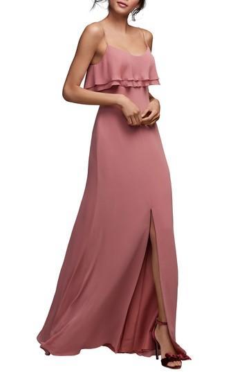 Hochzeit - Watters Jasper Ruffle Popover Gown