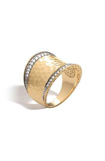 Mariage - John Hardy Hammered Saddle Ring with Diamonds