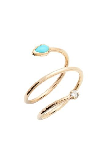 زفاف - Zoë Chicco Turquoise & Diamond Wrap Ring