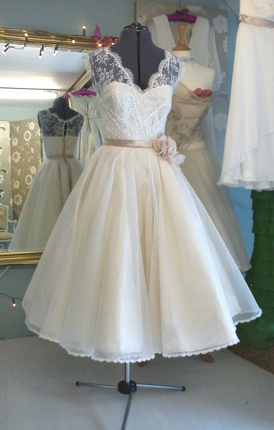 Wedding - Tea length ivory wedding dress with a stylish belt