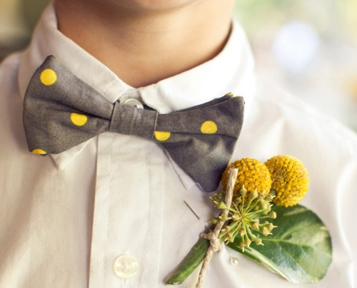 Mariage - Polka Dot Bow Tie & Boutonniere