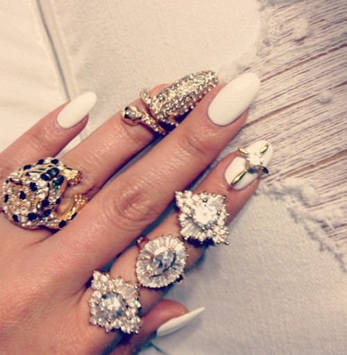 Wedding - Rhinestones Finger Nail Rings For Brides ♥ Bridal Nail Art and Design