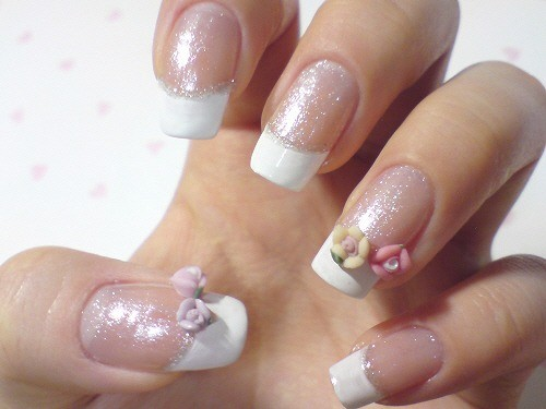 French Bridal Nail Designs 3D Ceramic Blossom Rose With Rhinestones For Wedding Nails