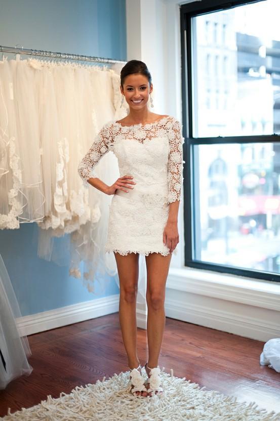 Summer wedding short lace wedding dress 791814 weddbook for Lace wedding reception dress