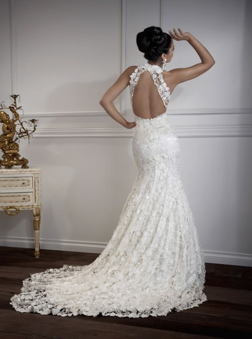 Sexy open back french lace wedding dresses 791826 weddbook for Lace wedding dresses open back