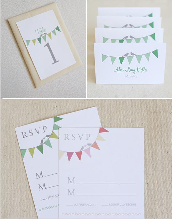 Hochzeit - Bunting Escort Cards