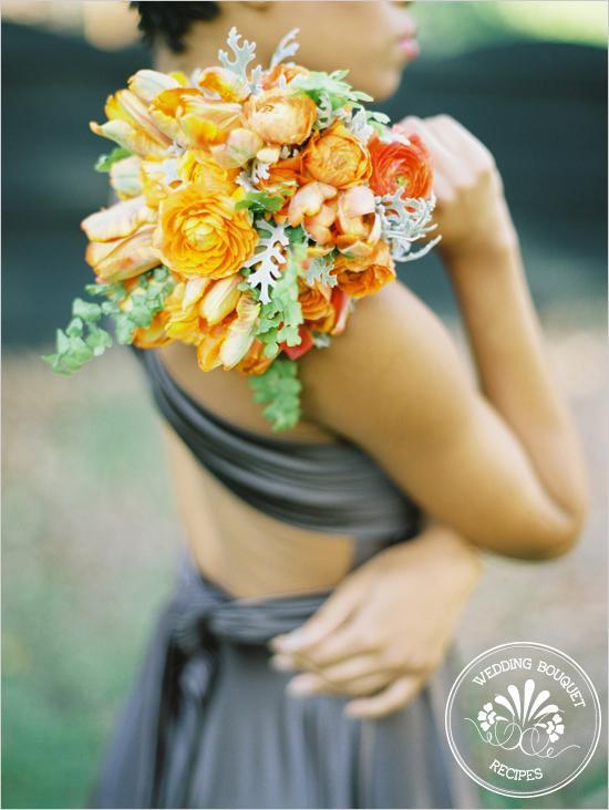 Mariage - Tangerine demoiselle d'honneur Bouquet