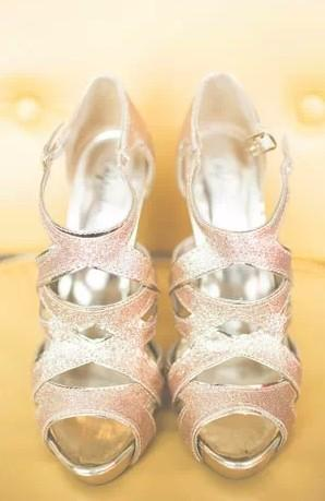 Peach Gold Sparkly Wedding Shoes ♥ Glitter Bridal Shoes