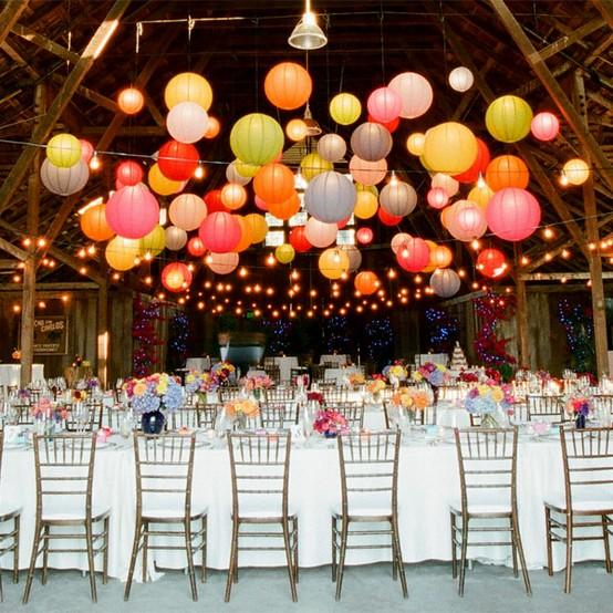 colorful hanging chinese paper lantern for barn or garden wedding, Garden idea