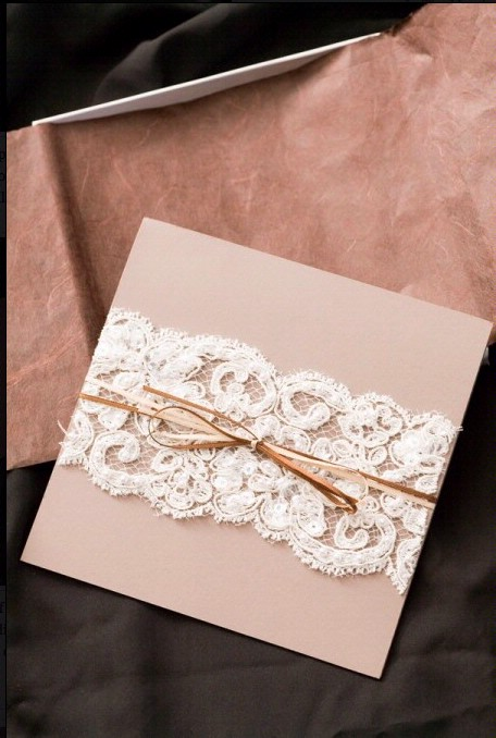 Hochzeit - DIY Lace Wedding Invitation ♥ Cheap Wedding Invitation