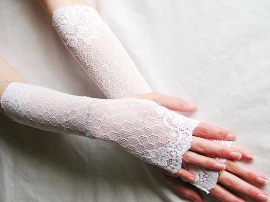 Mariage - Dentelle Fingerless Gants longs