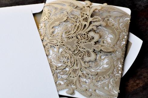 Hochzeit - Vintage Lace Wedding Invitation
