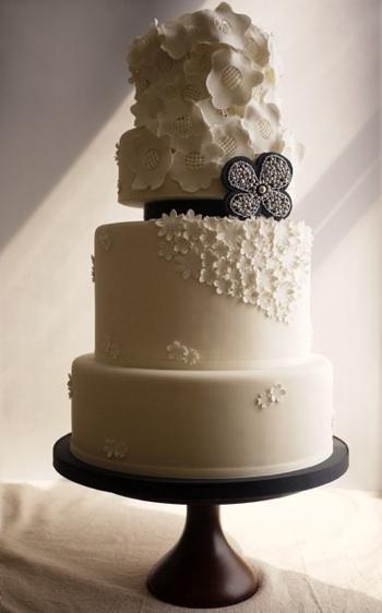 Wedding - White and Black Fondant Wedding Cake