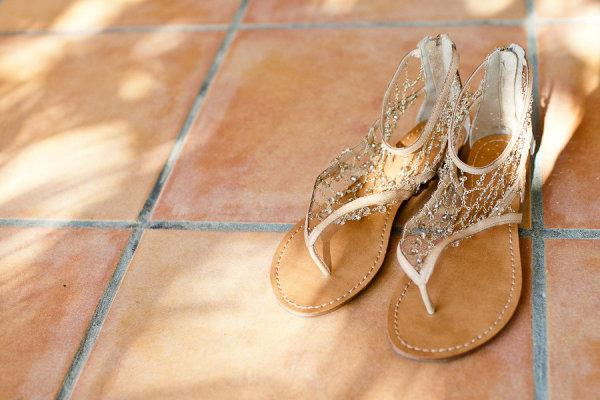 Wedding - Chic and Comfortable Gold Sparkling Wedding Sandals