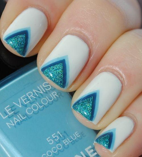Turquoise Wedding Zig Zag Nail Art Design 888700 Weddbook