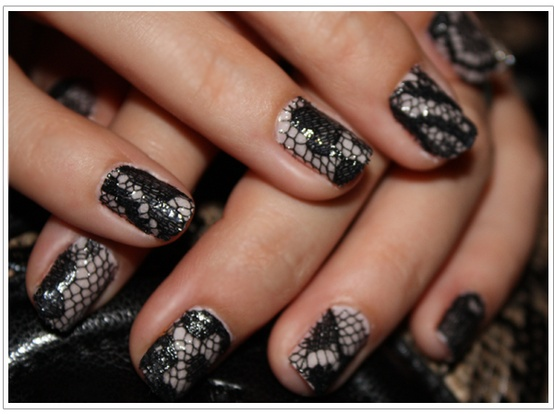Black and white wedding lace nail art design 888996 weddbook lace nail art design prinsesfo Image collections