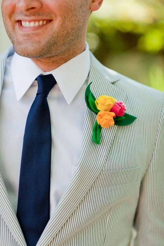 image of Striped Blazer and Colorful Boutonniere for Groom