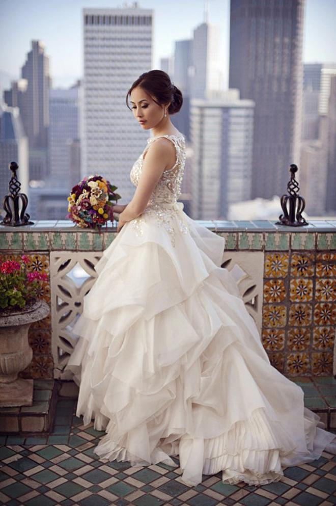 Chic Special Design Wedding Dress ♥ Veluz Reyes Asymmetric Layered ...