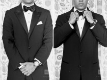 wedding photo -  Black Groom Suit with Satin Buttons | Saten Detayli Ozel Tasarim Damatlik