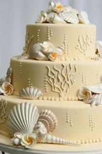 wedding photo - Beach Wedding Kuchen-Ideen ♥ Hochzeitstorte mit Edible Zucker Sea Shells