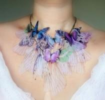 wedding photo - Fluttery Purple Butterfly Necklace