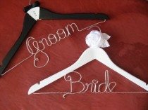 wedding photo - Personalized Bridal Hangers ♥ Wedding Hangers