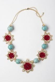 wedding photo -  Red Floral Handmade Necklace with Turquoise Details