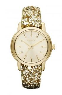 wedding photo - DKNY Gold Sparkle Strap Watch