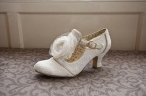wedding photo - Ivory Vintage pizzo da sposa Scarpe da sposa