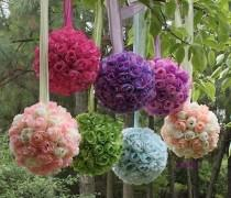 wedding photo - Wedding Party Supplies ♥ Colorful Flower Kissing Ball for Brithday Party or Wedding
