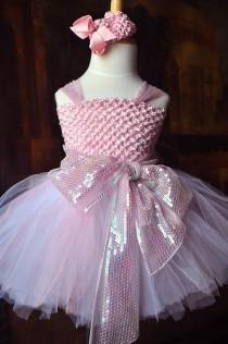 wedding photo - Pink Princesse Tutu niña de las flores o vestido de fiesta Brthday