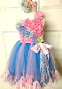 wedding photo - Cute Pink & Blue Tutu Flower Girl Dress with Pink Flowers