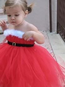 wedding photo - Noël Mariage Santa Red Tutu Flower Girl & Baby Dress