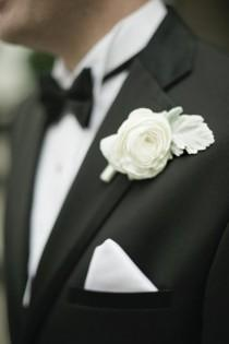wedding photo - White Rose Boutonniere ♥ Men's Attire