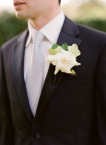 wedding photo -  Black Groom Suit with Satin Buttons