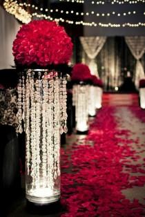 wedding photo - Christmas Wedding Red Rose Aisle Decor