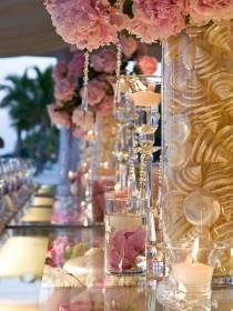 wedding photo - Pink Wedding Decor Ideas ♥ Pink Flowers, Mother of Pearl Shells, Crystals and Candles Wedding Centerpiece