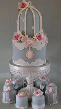 wedding photo - Vintage 2 Tier Birdcage Wedding Cake and Mini Cakes