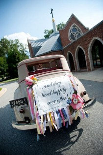 wedding photo - Lovely Wedding Car Decorations ♥ Classic Getaway Wedding Car With Ribbon Garlands