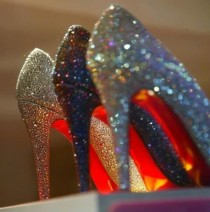 wedding photo - Bride and Bridesmaids Wedding Shoes ♥ Christian Louboutin Very Riche Glitter Wedding Shoes