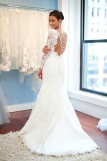 wedding photo - White French Lace Open Back Wedding Gown With Back Buttons ♥ Long Sleeved Wedding Dress