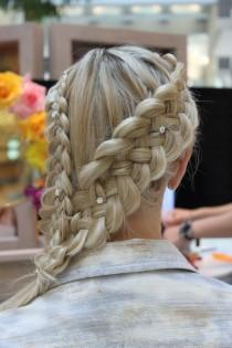 wedding photo -  Gorgeous Side Braid Hairstyles With Rhinestones Hair Pins ♥ Best Wedding Hairstyles