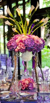 wedding photo -  Elegant Purple Wedding Centerpieces