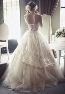 wedding photo - French Tulle Gorgeous Open Corset Back Victorian Style Wedding Dress