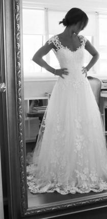 wedding photo - White Embroidered Tulle Low-Cut Back Wedding Dress by Maison Kas