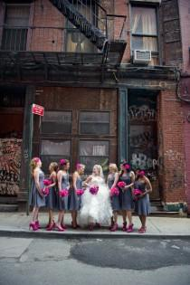 wedding photo - Real Weddings ♥ Gray Bridesmaids Dresses and Pop of Pink Wedding Flower Bouquets