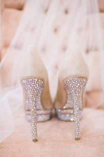 wedding photo - Glamorous Sparkly High Heels Wedding Shoes