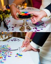 wedding photo - Creative Thumbprint Tree Wedding Guestbook with Color Box Petal Multicolor  Stamp Pad
